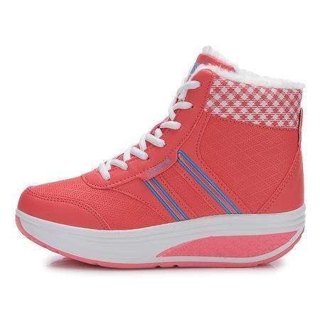 新款正品雪地靴防滑短靴坡跟松糕摇摇摆瘦身鞋加绒保暖运动女棉鞋