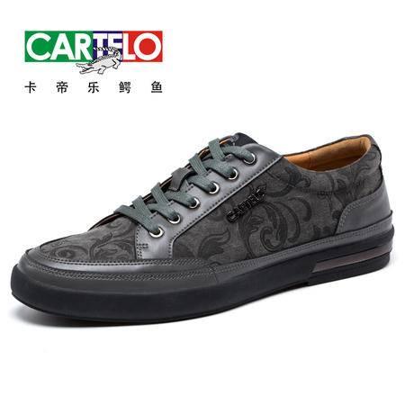 卡帝乐鳄鱼2016年新款男士印花潮流板鞋英伦手工缝线低帮休闲男鞋