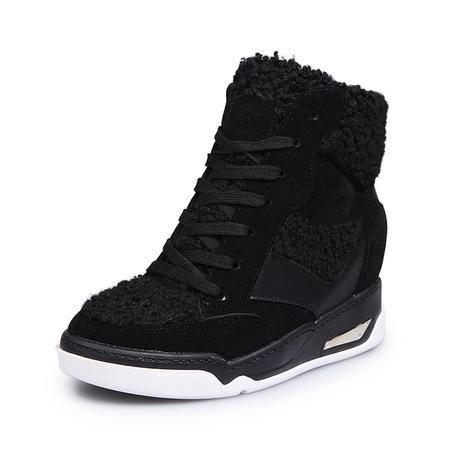 内增高雪地靴韩版厚底松糕女鞋冬款学生加厚加绒高帮棉鞋保暖短靴