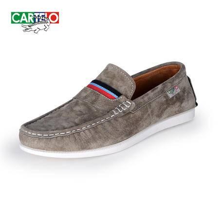 卡帝乐鳄鱼秋季新款男士真皮豆豆鞋青年英伦潮流驾车鞋时尚套脚鞋