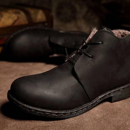 冬季新款工装鞋疯马牛皮男士加绒保暖皮鞋子头层牛皮棉鞋