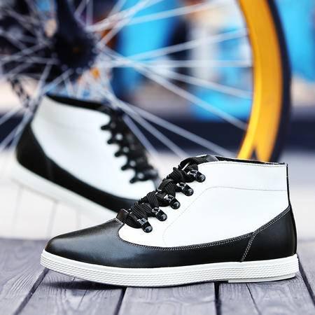 冬季潮流高帮皮鞋男士英伦真皮马丁靴加绒休闲棉鞋青年保暖板鞋子