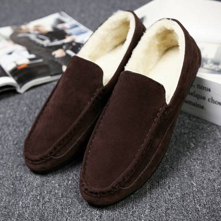 男士豆豆鞋秋冬2016新款加棉加绒白色懒人乐福鞋韩版潮流个性皮鞋