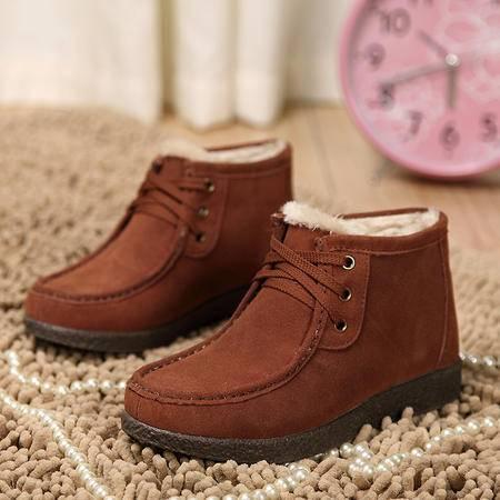 冬季新款加绒厚底棉鞋韩版系带休闲女单鞋短靴蜗牛女靴