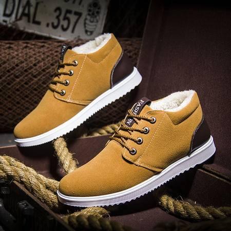 冬季加绒新款低帮保暖男士棉鞋韩版时尚男休闲鞋子潮男板鞋学生鞋
