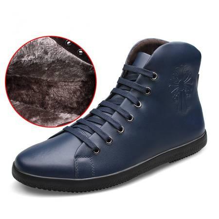 冬季高帮板鞋男休闲鞋系带休闲皮鞋男士真皮保暖棉鞋韩版潮鞋子男