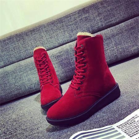 冬季雪地短靴女鞋马丁靴英伦风平底学生加绒高帮磨砂系带棉鞋女靴