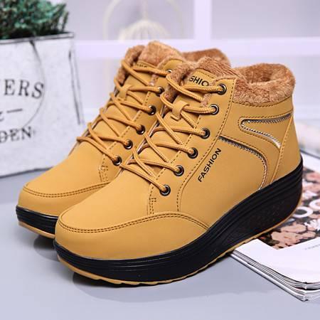 冬鞋加厚加绒保暖女鞋冬季高中学生棉鞋韩版冬天短靴子内增高厚底