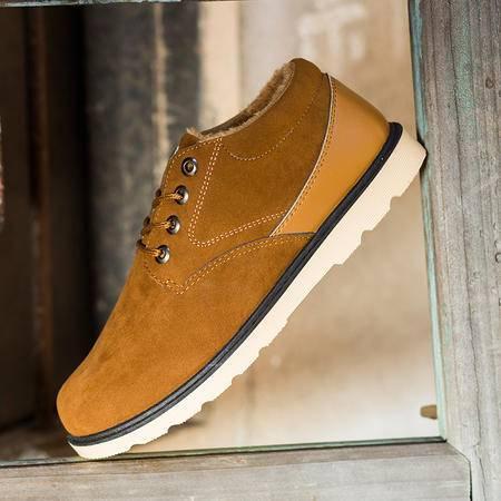 冬季新款单面绒男士棉鞋男款休闲二棉雪地靴保暖加绒工装男靴爆款