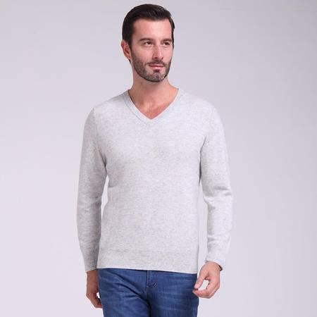 秋冬男士羊绒衫 套头针织衫 大码保暖毛衣 浅灰圆领打底衫
