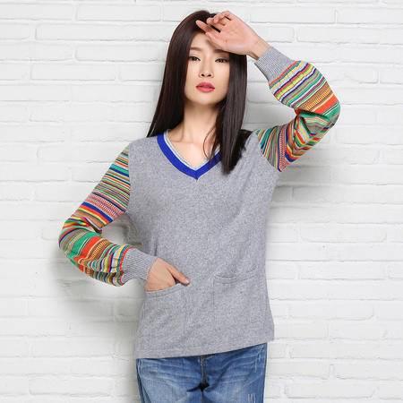 2015秋冬新款女式针织衫 宽松套头保暖毛衣 灯笼袖V领羊绒衫 包邮