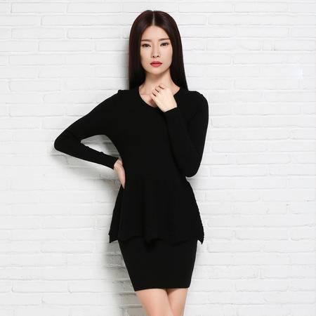 2015秋冬新款女式羊绒衫  修身保暖套头两件套群 长袖圆领羊绒衫