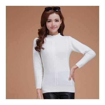 新款半高领纯羊绒衫女套头羊毛衫毛衣修身针织衫大码短款加厚打底