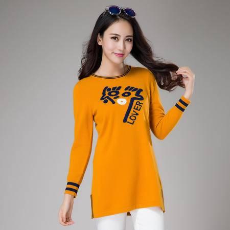 秋冬新款中长款羊绒女毛衣时尚甜美套头羊绒衫圆领打底衫