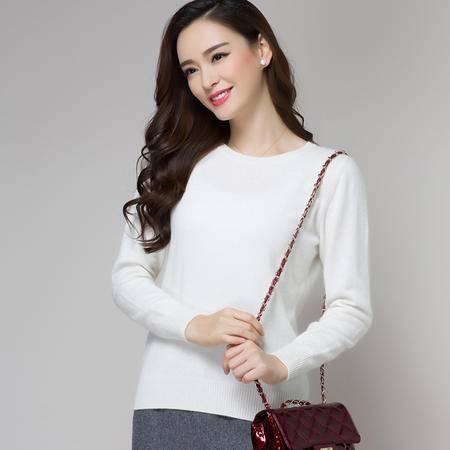 绵羊绒羊毛衫女套头打底衫圆领针织衫2015秋冬新款毛衣女外套短款