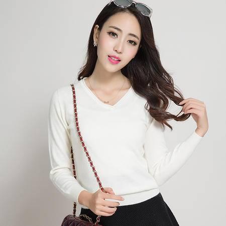 2015新款女式羊绒衫 v领卷边针织羊绒衫 百搭修身毛衣