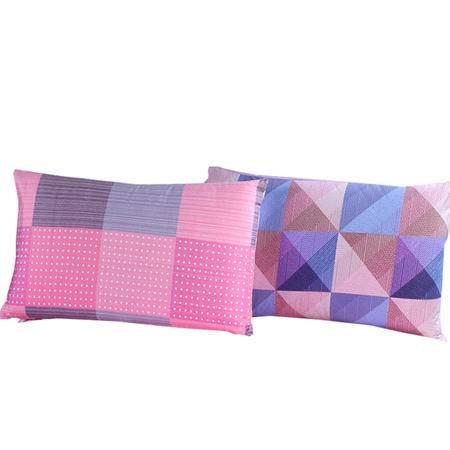 好梦来 全棉枕头套格子枕芯套学生加厚宽边枕套信封枕套一对