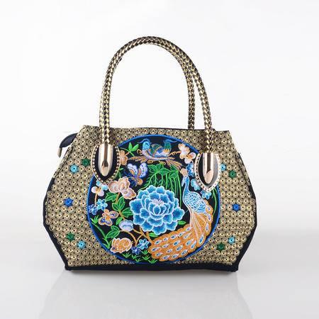 隆林民族风绣花包牡丹孔雀款 特色女款刺绣手提包