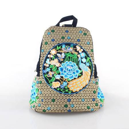 隆林民族风绣花帆布旅行包双肩包