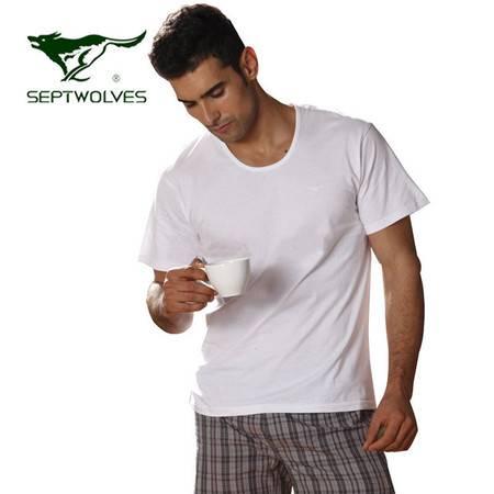 七匹狼 短袖衫男士纯棉T恤中老年汗衫 夏宽松全棉老头衫2件装