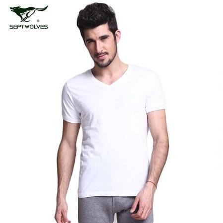 七匹狼纯棉男士V领T恤  白色