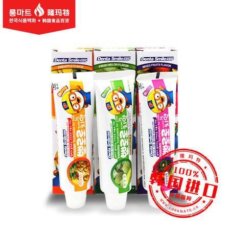 韩国进口 Pororo宝露露小企鹅 3岁以上儿童牙膏防龋齿 水果味90g
