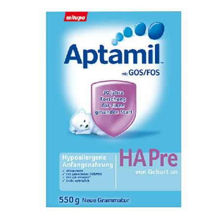 德国爱他美Aptamil HA免敏奶粉新生儿奶粉 Pre段(0-6个月)550g(海外版)