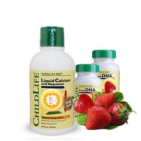【促进脑部发育】美国Childlife钙镁锌补充液474ml/瓶*1+高纯度DHA软胶囊90粒2瓶