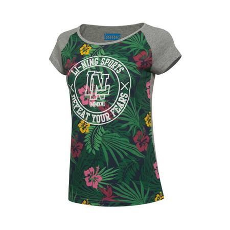 包邮 李宁2016新款女装运动生活系列纯棉纯棉短袖T恤GHSL022
