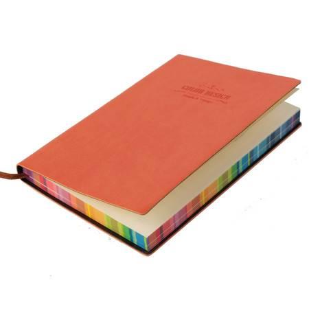 得力新品3184皮面本彩色喷边PU材质记事本56K创意笔记本 3本装