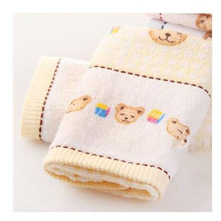 满百包邮 金号T1053毛巾全棉提缎小熊可爱童巾 全棉儿童面巾宝宝小毛巾   一条装