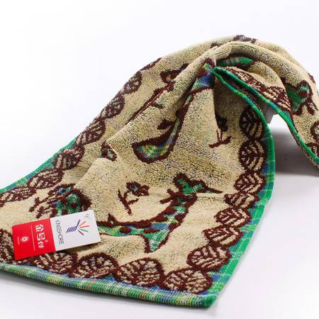 金号E011童巾 正品纯棉提缎儿童毛巾可爱长颈鹿宝宝面巾  一条装