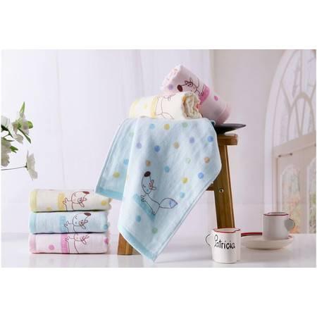 金号T1067W纯棉纱布小毛巾 全棉双层无捻提缎童巾面巾 可爱卡通  一条装