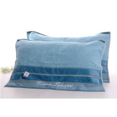 金号枕巾G2025 纯棉枕巾素色条纹款双色柔软舒适真正纯棉环保健康  一条装
