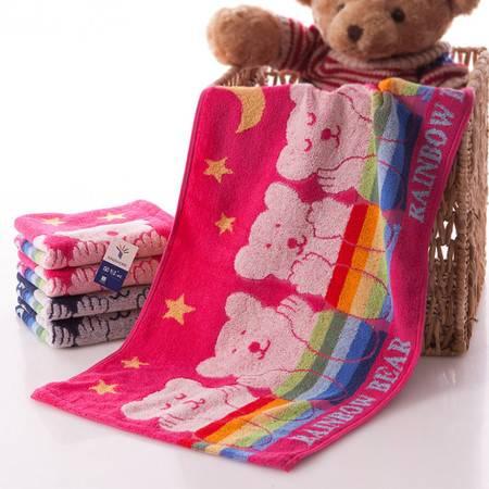 金号G1693纯棉毛巾卡通多彩熊 彩虹宝宝厚实吸水 清新亮丽柔软吸水毛巾 一条装