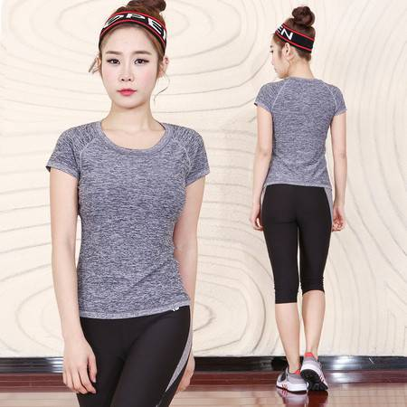 包邮  韵格 韩版女士显瘦紧身拼接瑜伽套装七分裤速干T恤女运动跑步健身服