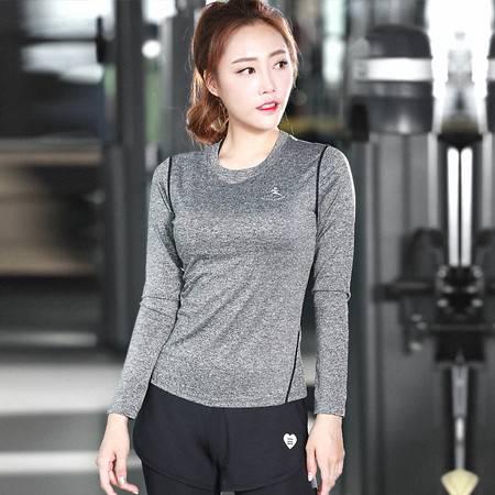包邮 韵格S55 紧身训练瑜伽服女长袖 运动健身服跑步T恤 吸湿排汗速干衣服