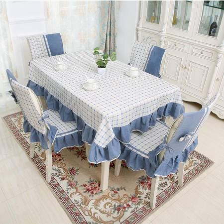 包邮  左岸春天 格外蓝 150cm*150 格子桌布布艺棉麻长方形地中海风格家用桌布(一)