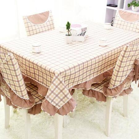 包邮  左岸春天 牵手茶 130cm*180 格子桌布布艺棉麻长方形地中海风格家用桌布(一)
