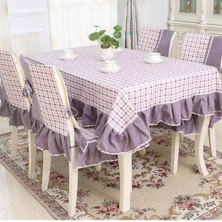 包邮  左岸春天 格外紫 150cm*150 格子桌布布艺棉麻长方形地中海风格家用桌布(一)