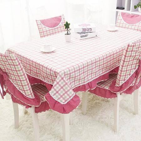包邮  左岸春天 牵手红 150cm*200格子桌布布艺棉麻长方形地中海风格家用桌布(一)