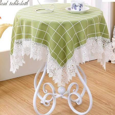 包邮左岸春天彩格绿60*60cm小方桌圆桌布布艺圆形台布正方形蕾丝餐桌布艺茶几桌布长方形清新(一