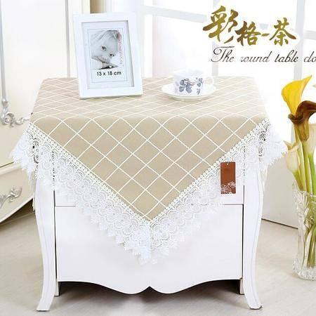 包邮左岸春天彩格茶100*100cm小圆桌桌布布艺正方形台布清新客厅床头柜盖布格子茶几桌布(一)