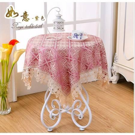 包邮左岸春天如意紫100*100cm小圆桌桌布布艺正方形台布清新客厅床头柜盖布格子茶几桌布(一)
