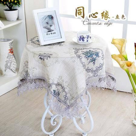 包邮左岸春天同心缘灰直径200cm小圆桌桌布布艺台布清新客厅床头柜盖布茶几桌布(一)