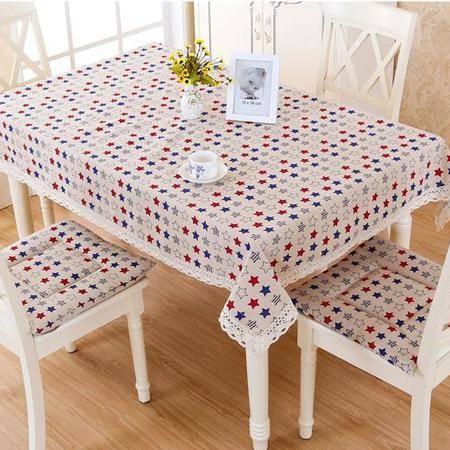 包邮左岸春天彩虹星星120*170cm桌布布艺棉麻长方形日式台布餐桌布艺茶几桌布正方形(一)