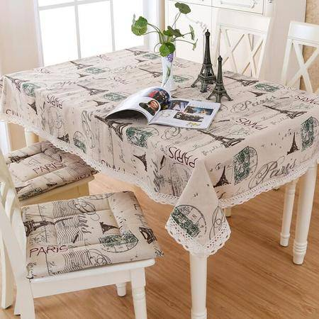 包邮左岸春天埃菲尔100*100cm桌布布艺棉麻长方形日式台布餐桌布艺茶几桌布正方形(一)