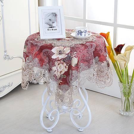 包邮左岸春天典范红80*80cm欧式奢华小圆桌桌布布艺正方形台布蕾丝长方形餐桌桌布茶几桌布