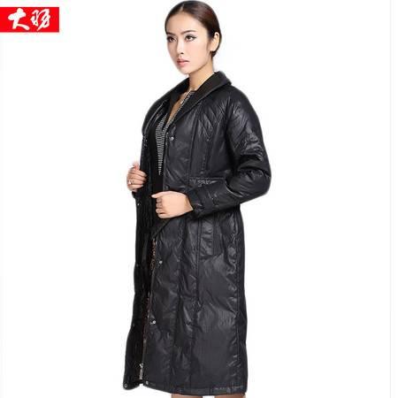包邮大羽正品羽绒服女士长款及膝修身欧美风气质外套冬装大衣08954