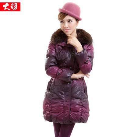 包邮大羽女士中长款羽绒服带毛领修身显瘦保暖女装冬季外套厚08910